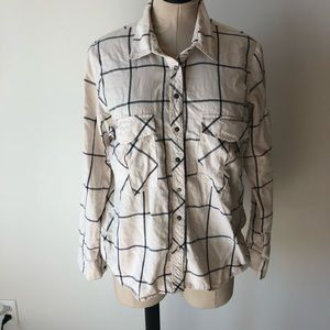 ZARA Plaid White Button Down Shirt Large